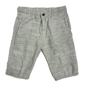 Zara Boy Heathered Grey/ White Adjustable Shorts